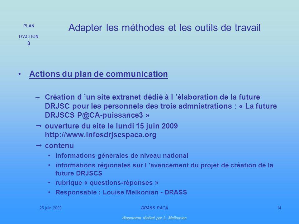 25 juin 2009DRASS PACA diaporama réalisé par L. Melkonian 14 Actions du plan de communication –Création d un site extranet dédié à l élaboration de la
