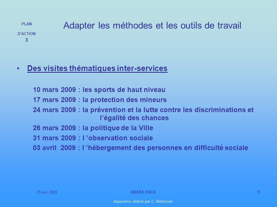 25 juin 2009DRASS PACA diaporama réalisé par L. Melkonian 15 Des visites thématiques inter-services 10 mars 2009 : les sports de haut niveau 17 mars 2
