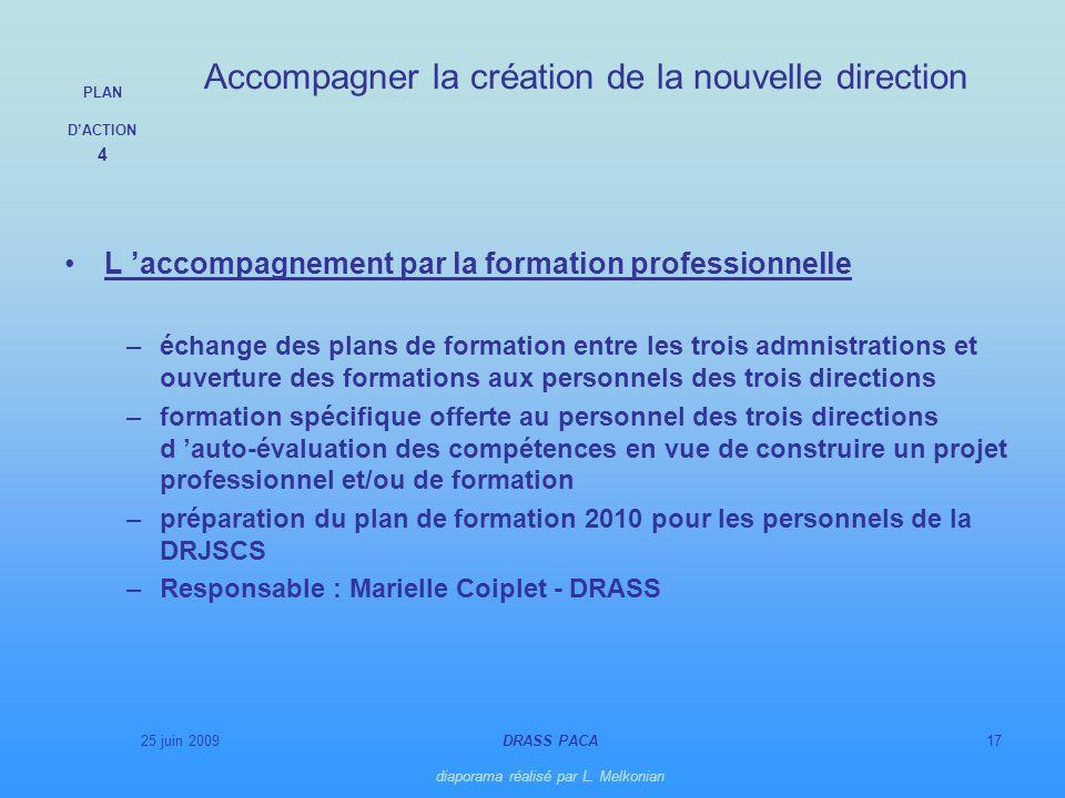 25 juin 2009DRASS PACA diaporama réalisé par L. Melkonian 17 L accompagnement par la formation professionnelle –échange des plans de formation entre l