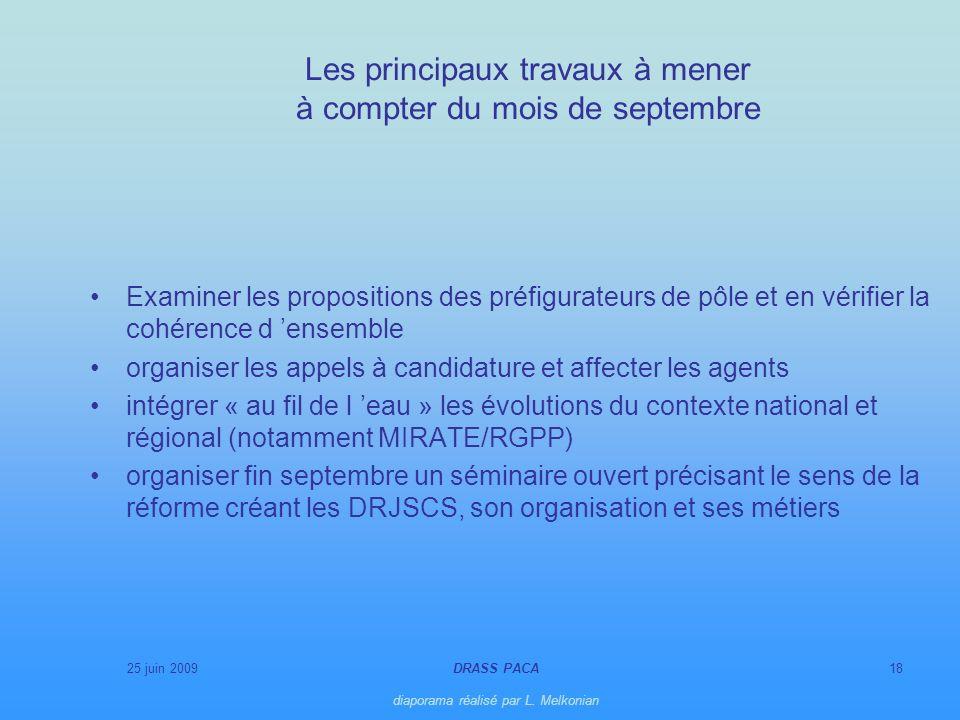 25 juin 2009DRASS PACA diaporama réalisé par L. Melkonian 18 Les principaux travaux à mener à compter du mois de septembre Examiner les propositions d