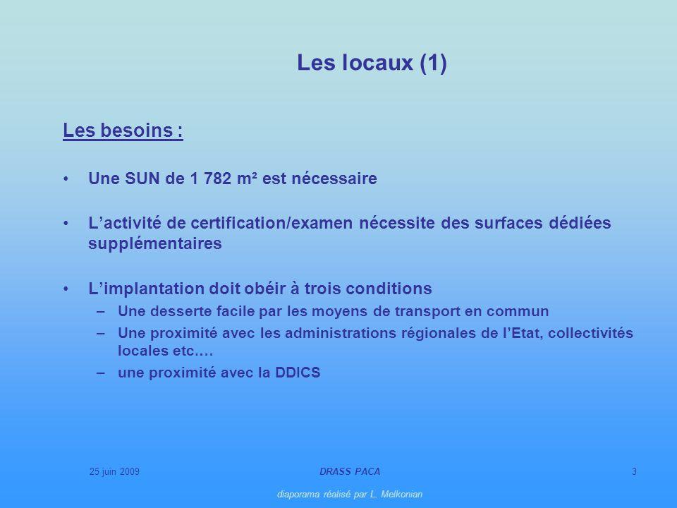 25 juin 2009DRASS PACA diaporama réalisé par L. Melkonian 3 Les locaux (1) Les besoins : Une SUN de 1 782 m² est nécessaire Lactivité de certification