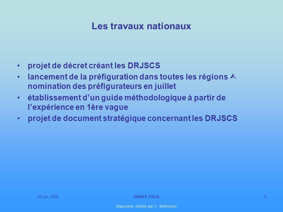 25 juin 2009DRASS PACA diaporama réalisé par L. Melkonian 5 Les travaux nationaux projet de décret créant les DRJSCS lancement de la préfiguration dan