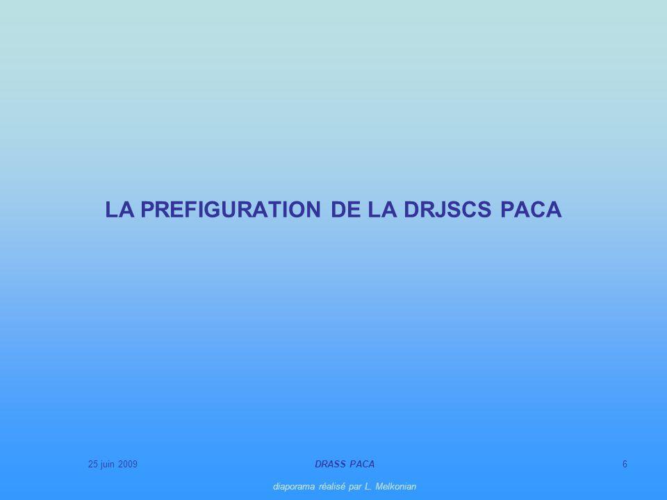25 juin 2009DRASS PACA diaporama réalisé par L. Melkonian 6 LA PREFIGURATION DE LA DRJSCS PACA