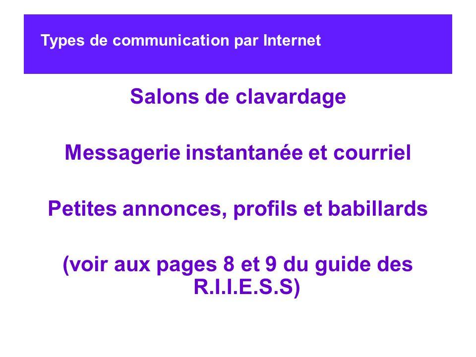 Salons de clavardage Messagerie instantanée et courriel Petites annonces, profils et babillards (voir aux pages 8 et 9 du guide des R.I.I.E.S.S) Types