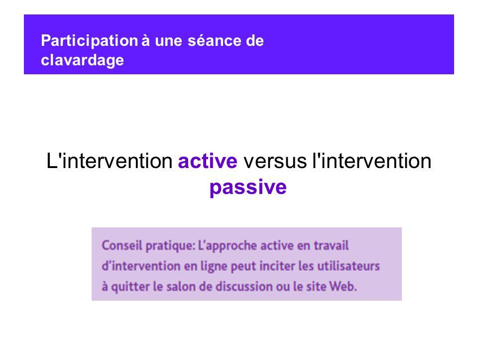 L'intervention active versus l'intervention passive Participation à une séance de clavardage