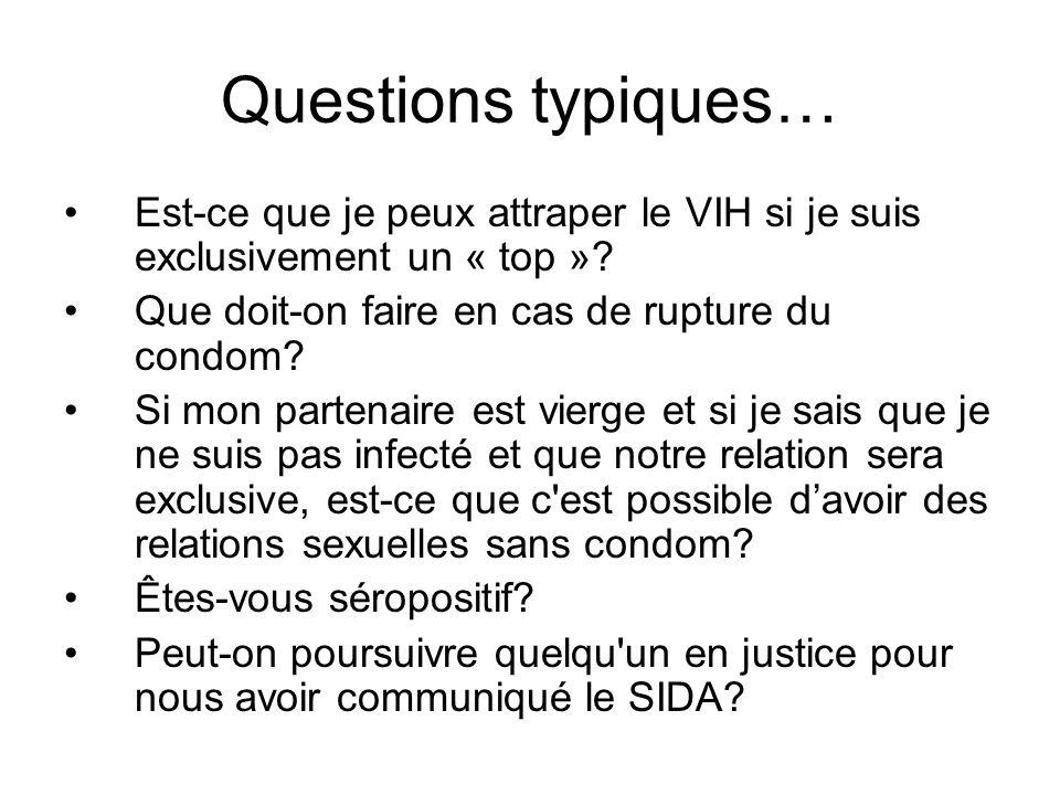 Questions typiques… Est-ce que je peux attraper le VIH si je suis exclusivement un « top »? Que doit-on faire en cas de rupture du condom? Si mon part
