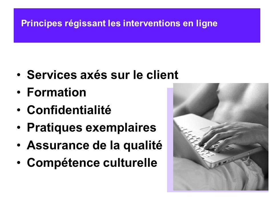 Services axés sur le client Formation Confidentialité Pratiques exemplaires Assurance de la qualité Compétence culturelle Principes régissant les inte