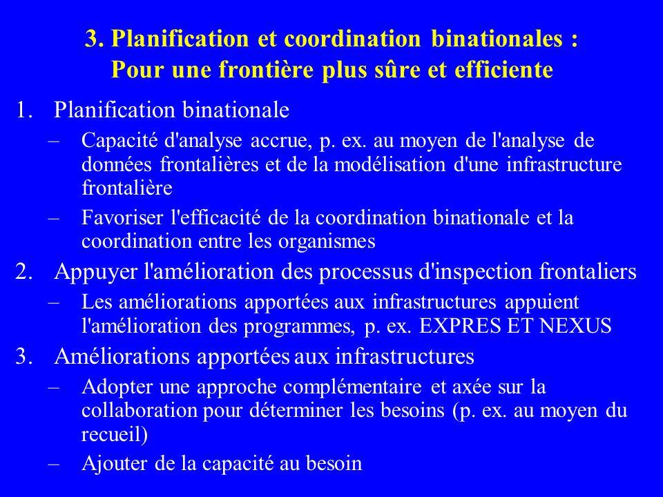 3. Planification et coordination binationales : Pour une frontière plus sûre et efficiente 1.Planification binationale –Capacité d'analyse accrue, p.
