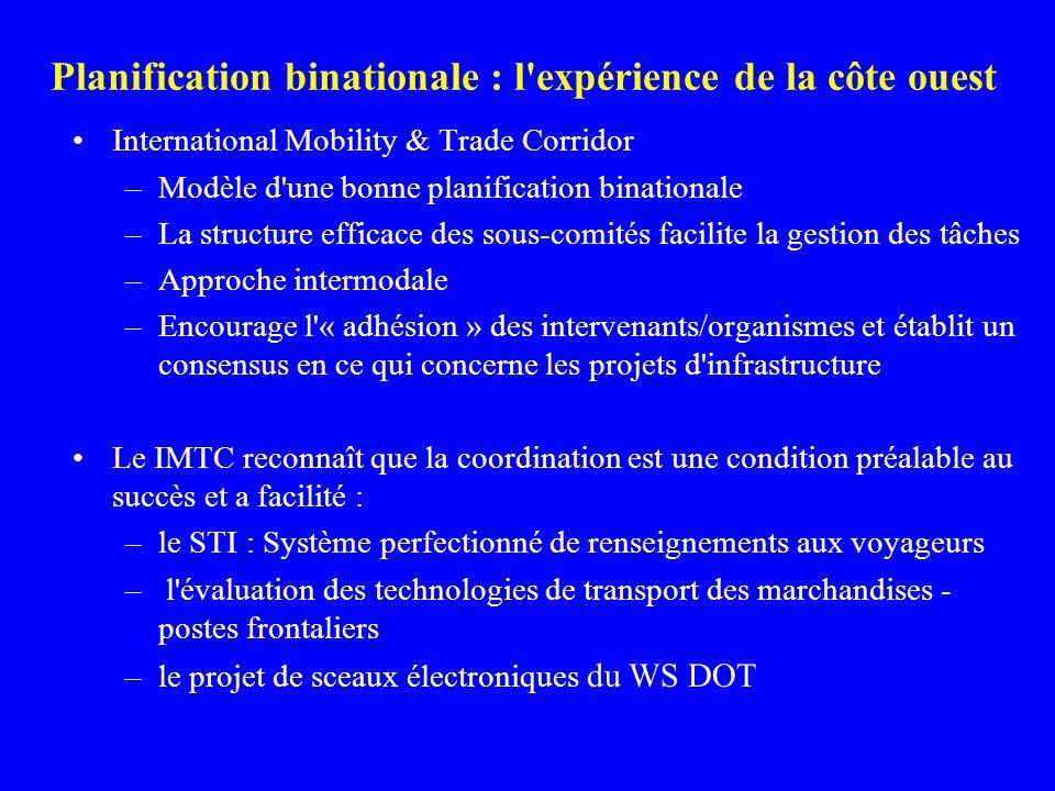 Planification binationale : l expérience de la côte ouest International Mobility & Trade Corridor –Modèle d une bonne planification binationale –La structure efficace des sous-comités facilite la gestion des tâches –Approche intermodale –Encourage l « adhésion » des intervenants/organismes et établit un consensus en ce qui concerne les projets d infrastructure Le IMTC reconnaît que la coordination est une condition préalable au succès et a facilité : –le STI : Système perfectionné de renseignements aux voyageurs – l évaluation des technologies de transport des marchandises - postes frontaliers –le projet de sceaux électroniques du WS DOT