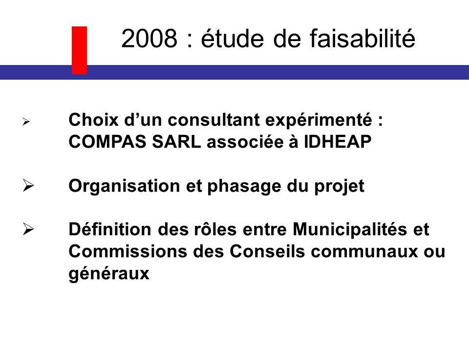 2008 : étude de faisabilité Choix dun consultant expérimenté : COMPAS SARL associée à IDHEAP Organisation et phasage du projet Définition des rôles entre Municipalités et Commissions des Conseils communaux ou généraux