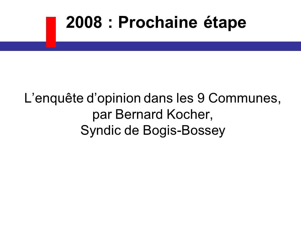Lenquête dopinion dans les 9 Communes, par Bernard Kocher, Syndic de Bogis-Bossey 2008 : Prochaine étape