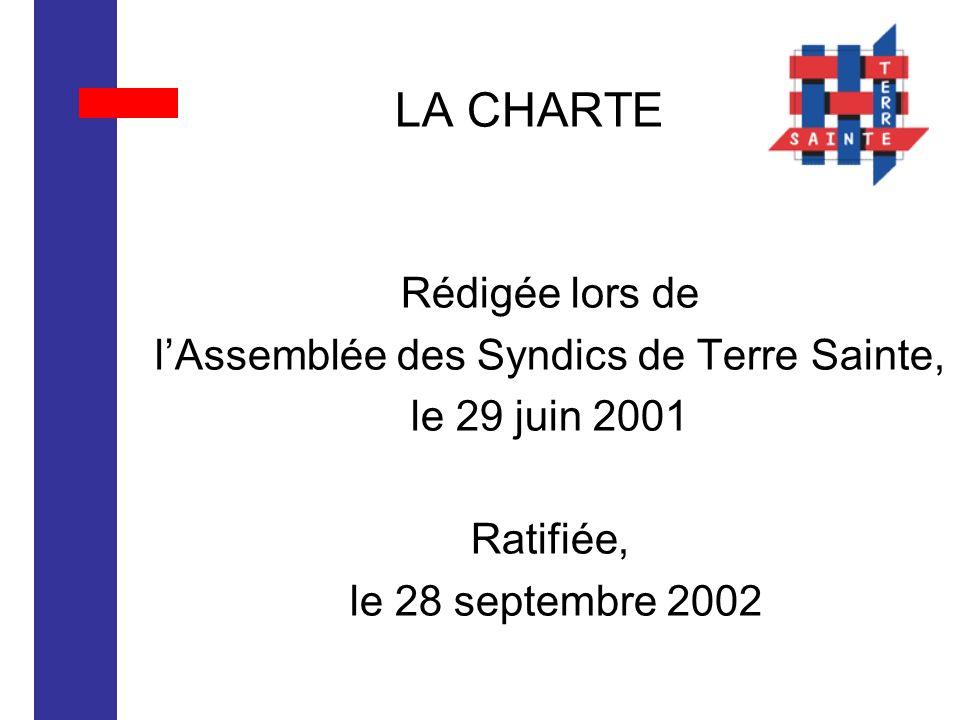 LA CHARTE Rédigée lors de lAssemblée des Syndics de Terre Sainte, le 29 juin 2001 Ratifiée, le 28 septembre 2002