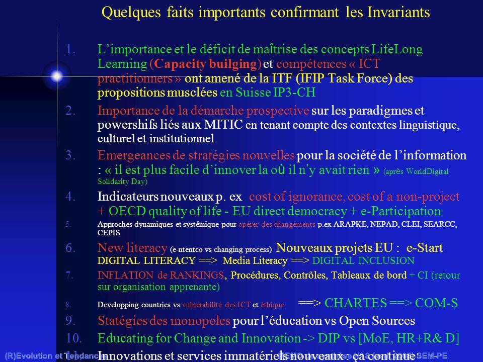 (R)Evolution et Tendances MEMO de synthèse N° 8 (avril 2008) SEM-PE Quelques faits importants confirmant les Invariants 1.Limportance et le déficit de ma î trise des concepts LifeLong Learning (Capacity builging) et compétences « ICT practitionners » ont amené de la ITF (IFIP Task Force) des propositions musclées en Suisse IP3-CH 2.Importance de la démarche prospective sur les paradigmes et powershifs liés aux MITIC en tenant compte des contextes linguistique, culturel et institutionnel 3.Emergeances de stratégies nouvelles pour la société de linformation : « il est plus facile dinnover la o ù il n y avait rien » (apr è s WorldDigital Solidarity Day) 4.Indicateurs nouveaux p.