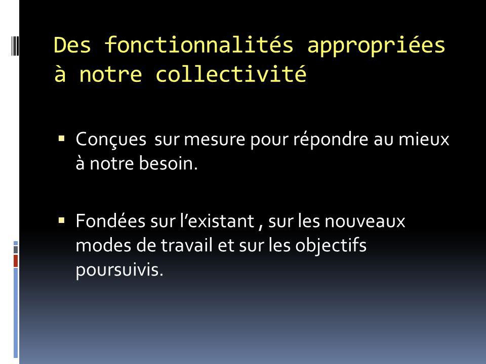 Des fonctionnalités appropriées à notre collectivité Conçues sur mesure pour répondre au mieux à notre besoin.