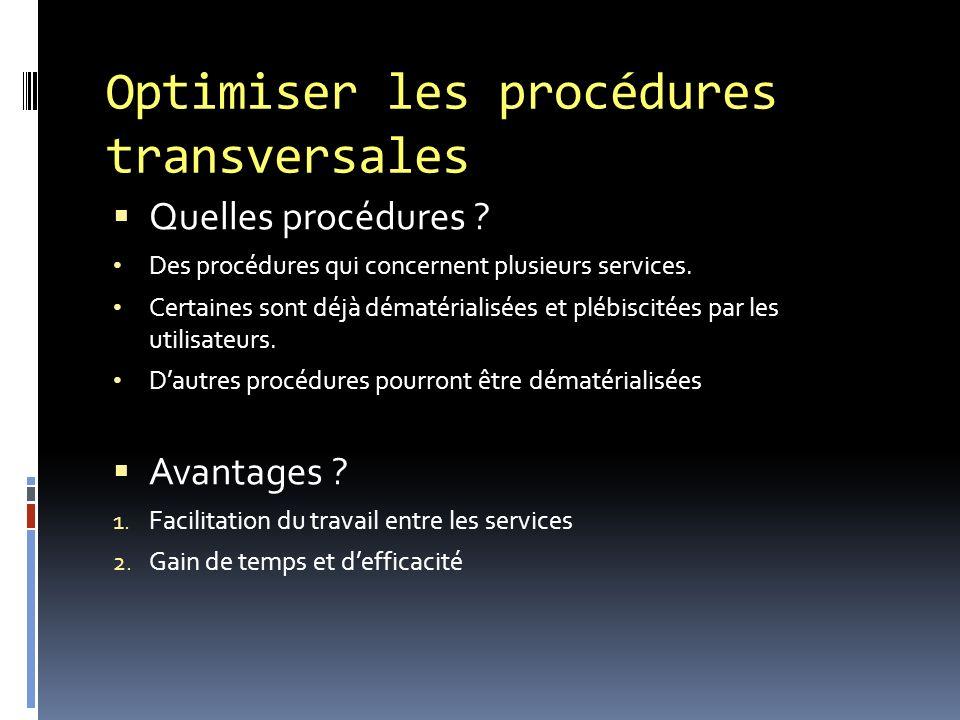 Optimiser les procédures transversales Quelles procédures .
