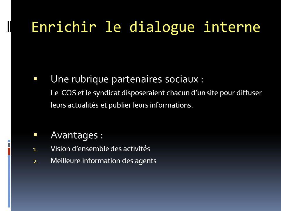 Enrichir le dialogue interne Une rubrique partenaires sociaux : Le COS et le syndicat disposeraient chacun dun site pour diffuser leurs actualités et publier leurs informations.