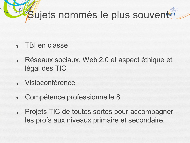 TBI en classe Réseaux sociaux, Web 2.0 et aspect éthique et légal des TIC Visioconférence Compétence professionnelle 8 Projets TIC de toutes sortes pour accompagner les profs aux niveaux primaire et secondaire.