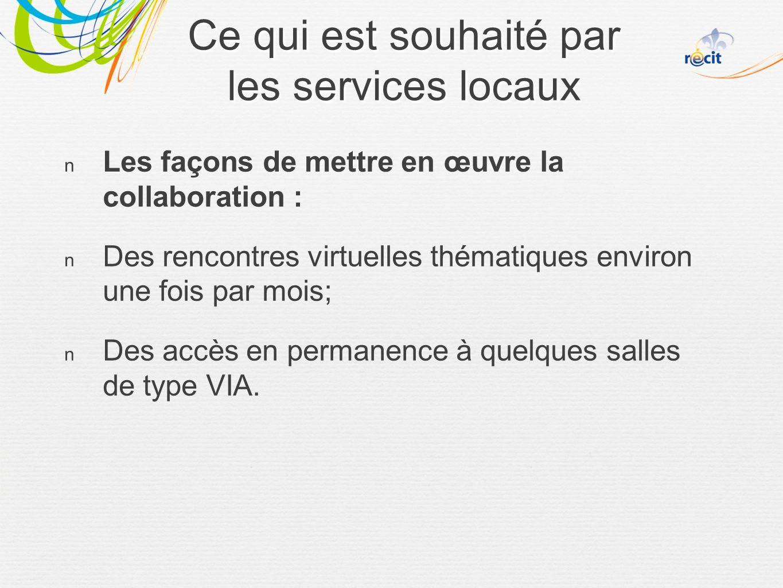 Les façons de mettre en œuvre la collaboration : Des rencontres virtuelles thématiques environ une fois par mois; Des accès en permanence à quelques salles de type VIA.