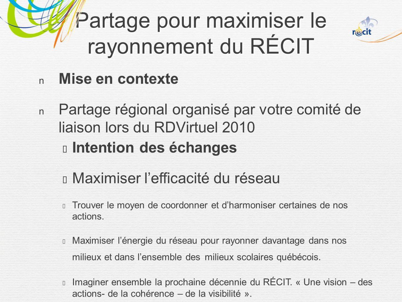 Partage pour maximiser le rayonnement du RÉCIT Mise en contexte Partage régional organisé par votre comité de liaison lors du RDVirtuel 2010 Intention des échanges Maximiser lefficacité du réseau Trouver le moyen de coordonner et dharmoniser certaines de nos actions.