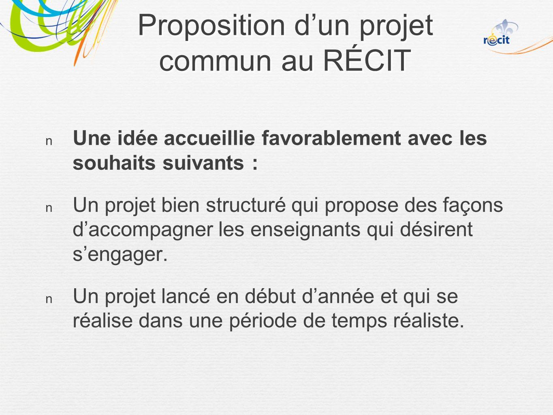 Une idée accueillie favorablement avec les souhaits suivants : Un projet bien structuré qui propose des façons daccompagner les enseignants qui désirent sengager.