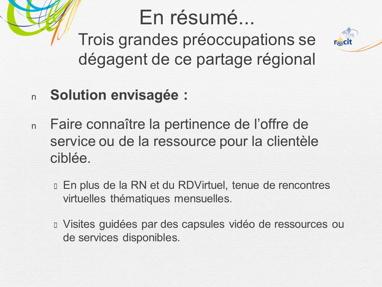 Solution envisagée : Faire connaître la pertinence de loffre de service ou de la ressource pour la clientèle ciblée.