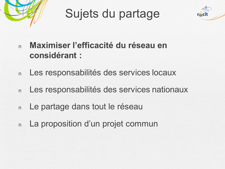 Sujets du partage Maximiser lefficacité du réseau en considérant : Les responsabilités des services locaux Les responsabilités des services nationaux Le partage dans tout le réseau La proposition dun projet commun