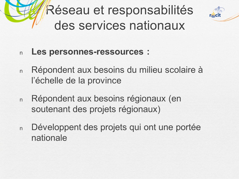Réseau et responsabilités des services nationaux Les personnes-ressources : Répondent aux besoins du milieu scolaire à léchelle de la province Répondent aux besoins régionaux (en soutenant des projets régionaux) Développent des projets qui ont une portée nationale