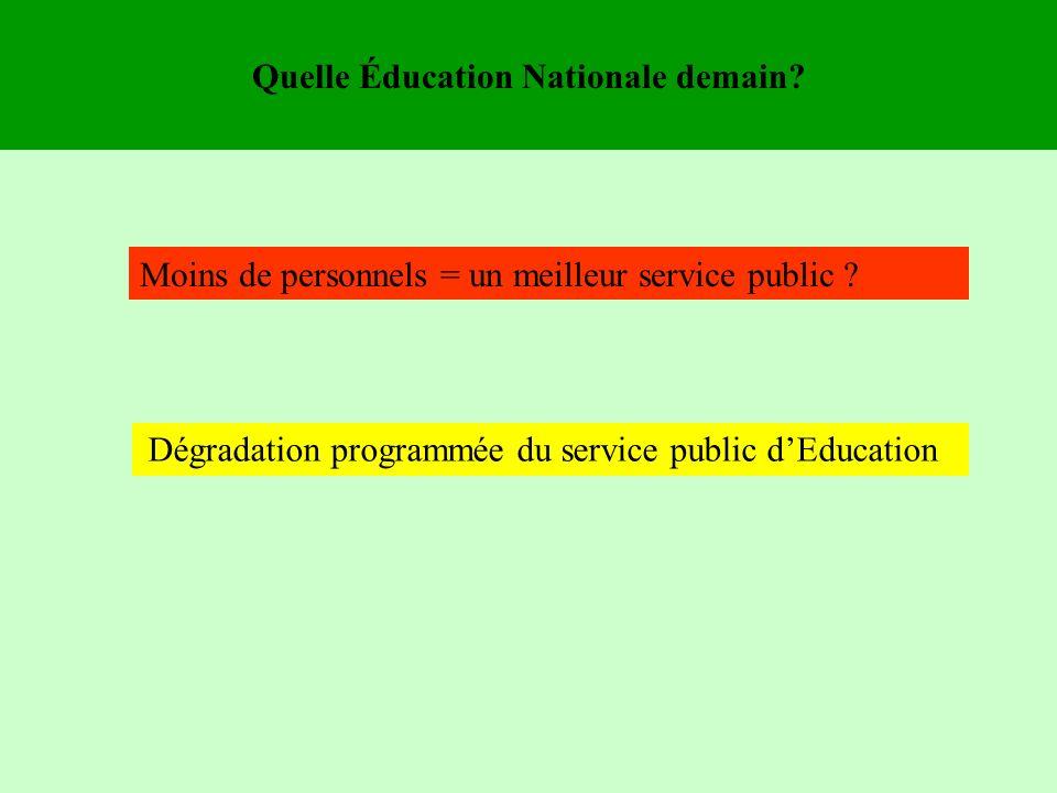 Quelle Éducation Nationale demain. Moins de personnels = un meilleur service public .