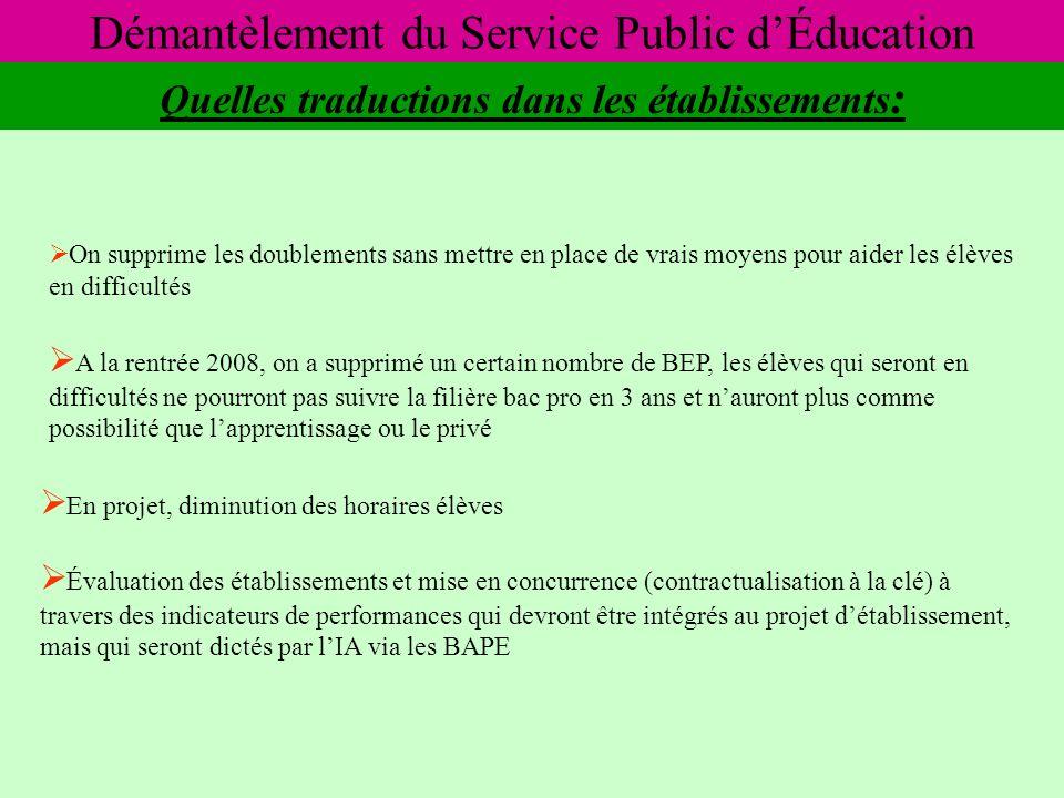 Démantèlement du Service Public dÉducation Quelles conséquences .