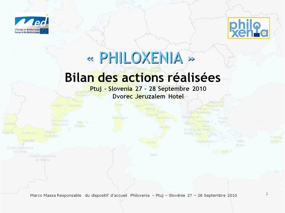 1 Marco Massa Responsable du dispositif daccueil Philoxenia – Ptuj – Slovénie 27 – 28 Septembre 2010 « PHILOXENIA » Bilan des actions réalisées Ptuj –