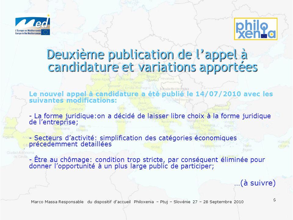 6 Marco Massa Responsable du dispositif daccueil Philoxenia – Ptuj – Slovénie 27 – 28 Septembre 2010 Deuxième publication de lappel à candidature et v