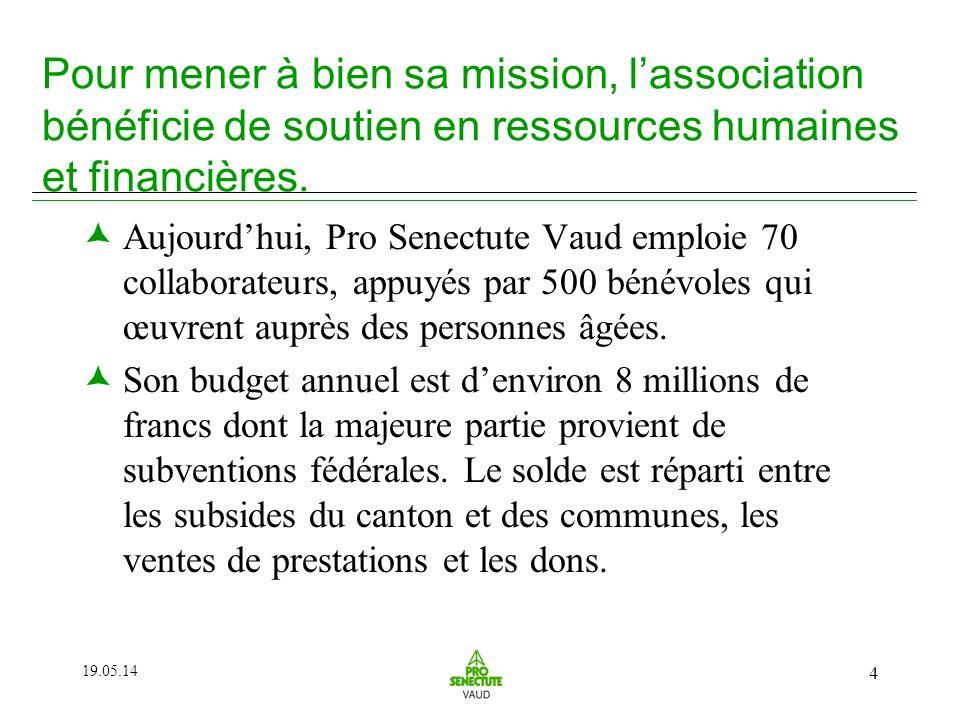 19.05.14 4 Pour mener à bien sa mission, lassociation bénéficie de soutien en ressources humaines et financières.