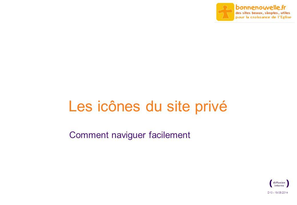 D10 - 19/05/2014 Les icônes du site privé Comment naviguer facilement