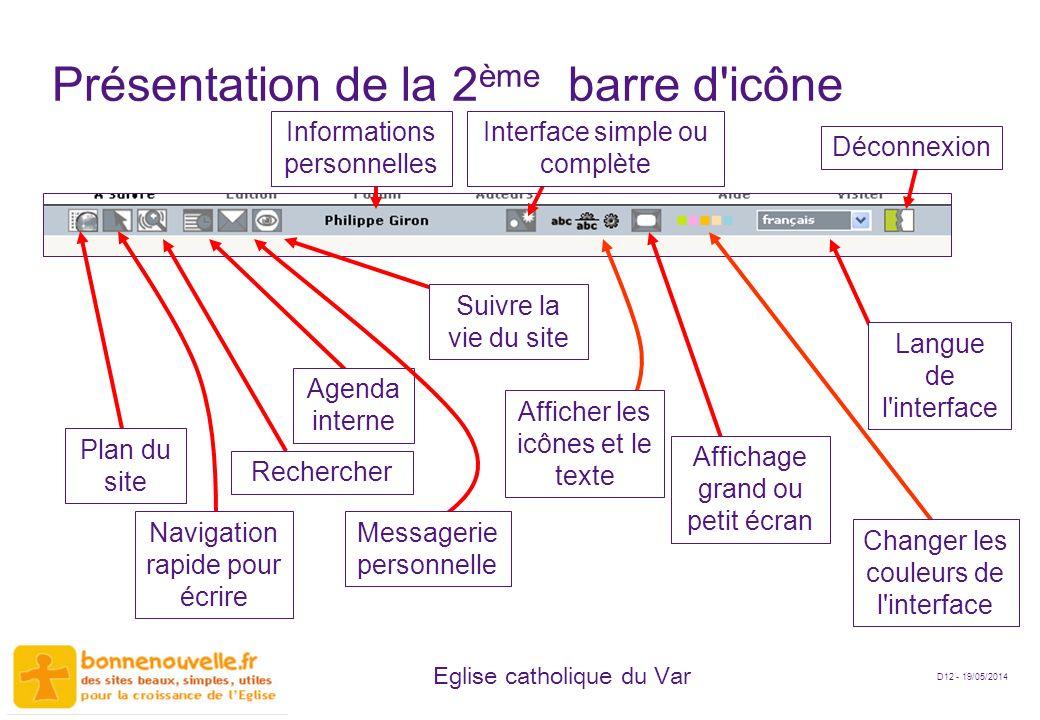 D12 - 19/05/2014 Eglise catholique du Var Présentation de la 2 ème barre d'icône Rechercher Navigation rapide pour écrire Plan du site Agenda interne