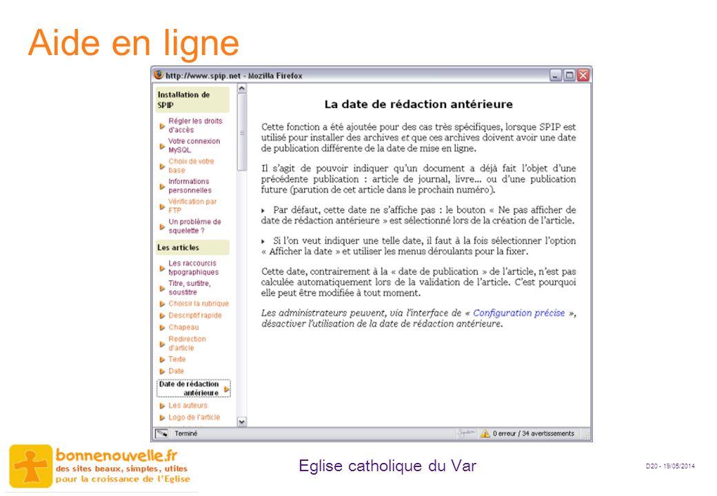 D20 - 19/05/2014 Eglise catholique du Var Aide en ligne