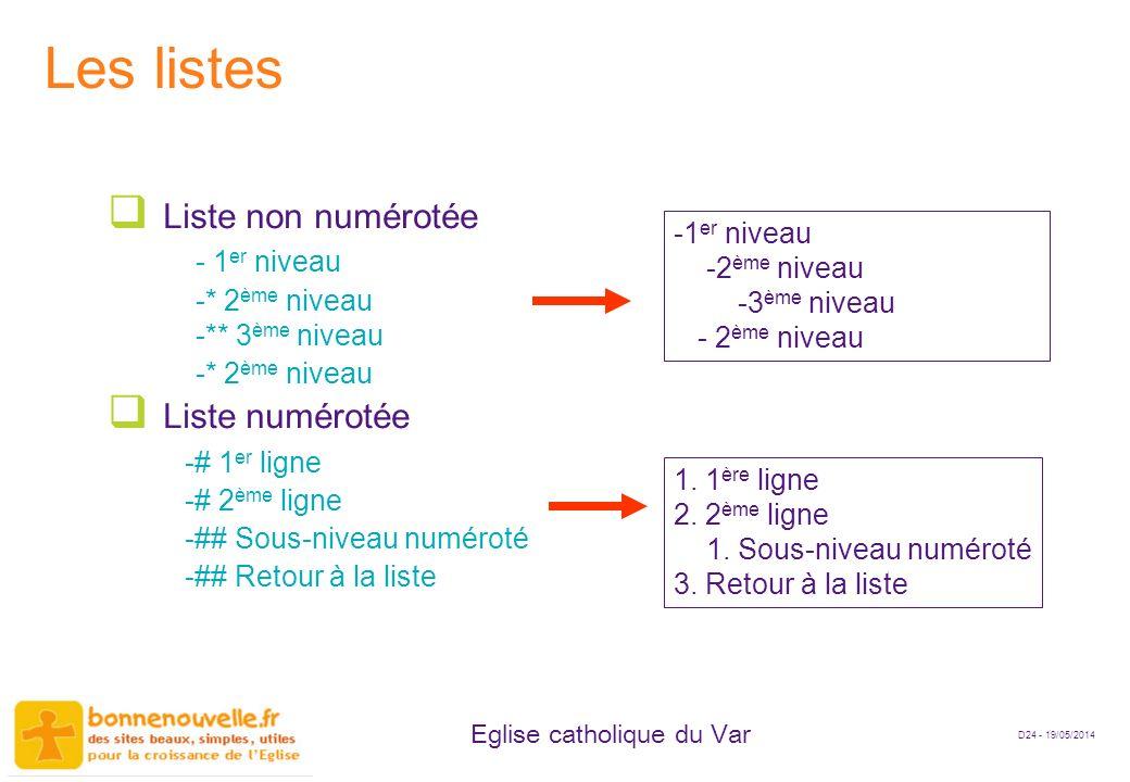 D24 - 19/05/2014 Eglise catholique du Var Les listes Liste non numérotée - 1 er niveau -* 2 ème niveau -** 3 ème niveau -* 2 ème niveau Liste numéroté