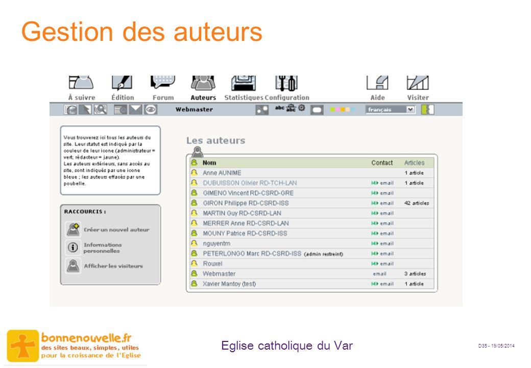 D35 - 19/05/2014 Eglise catholique du Var Gestion des auteurs