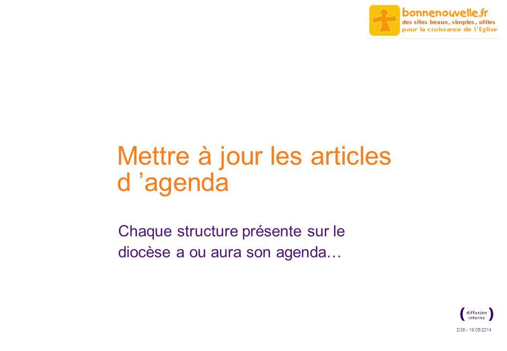 D36 - 19/05/2014 Mettre à jour les articles d agenda Chaque structure présente sur le diocèse a ou aura son agenda…