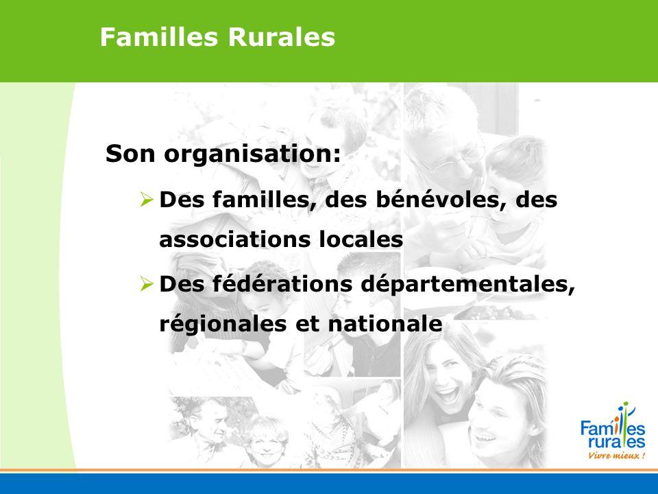 Familles Rurales Son organisation: Des familles, des bénévoles, des associations locales Des fédérations départementales, régionales et nationale