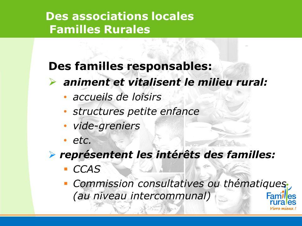 Des associations locales Familles Rurales Des familles responsables: animent et vitalisent le milieu rural: accueils de loisirs structures petite enfance vide-greniers etc.