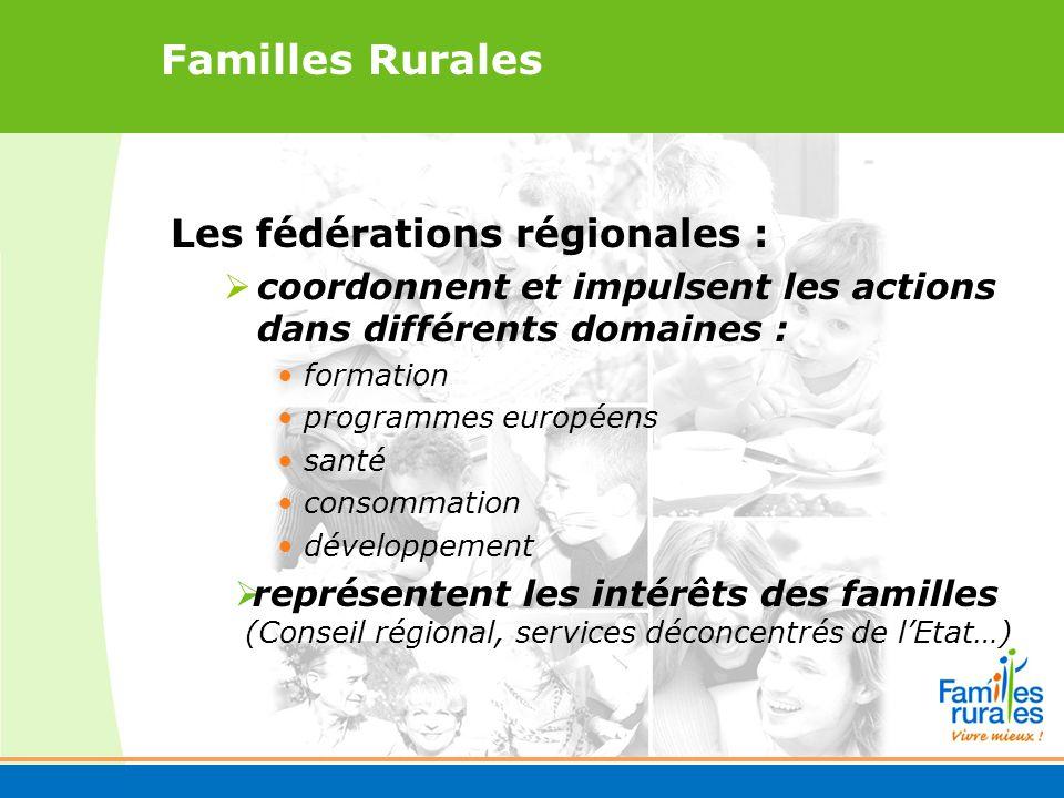 Familles Rurales Les fédérations régionales : coordonnent et impulsent les actions dans différents domaines : formation programmes européens santé consommation développement représentent les intérêts des familles (Conseil régional, services déconcentrés de lEtat…)