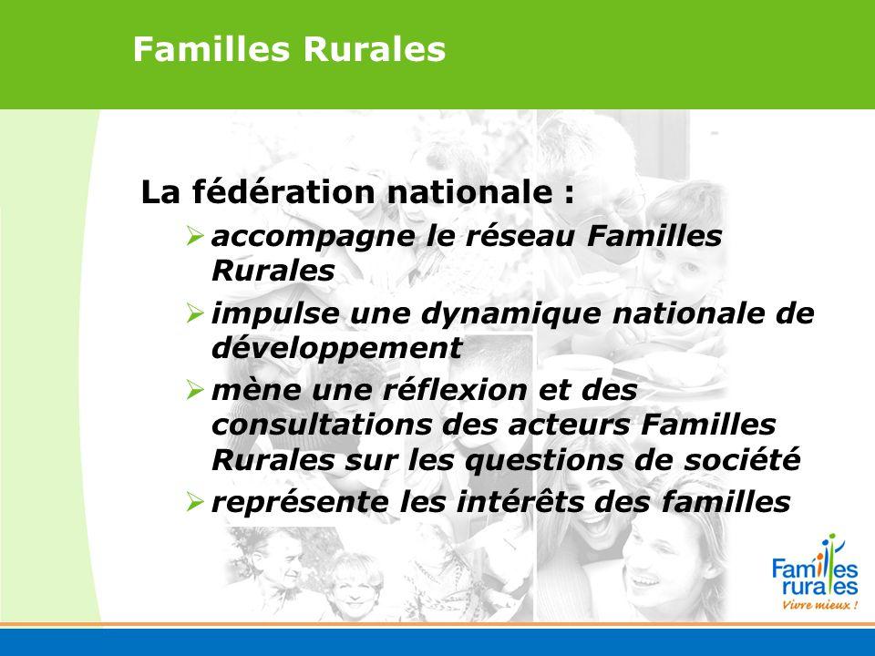 Familles Rurales La fédération nationale : accompagne le réseau Familles Rurales impulse une dynamique nationale de développement mène une réflexion et des consultations des acteurs Familles Rurales sur les questions de société représente les intérêts des familles