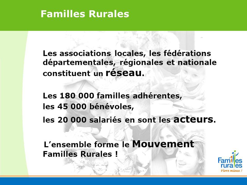 Les associations locales, les fédérations départementales, régionales et nationale constituent un réseau.