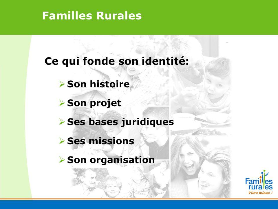 Familles Rurales Ce qui fonde son identité: Son histoire Son projet Ses bases juridiques Ses missions Son organisation