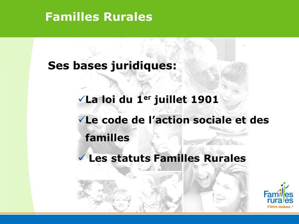 Familles Rurales Ses bases juridiques: La loi du 1 er juillet 1901 Le code de laction sociale et des familles Les statuts Familles Rurales