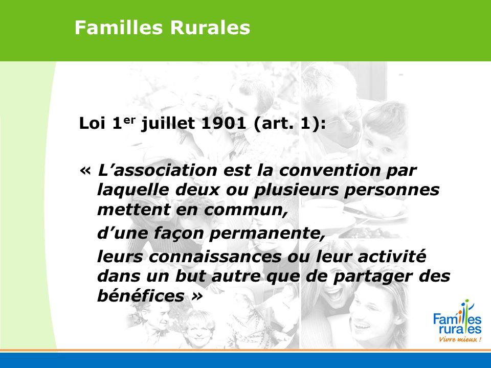 Familles Rurales Loi 1 er juillet 1901 (art.