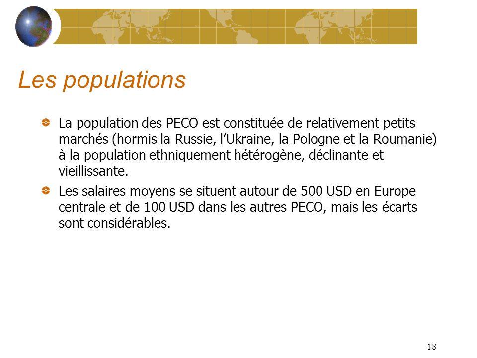 17 Des institutions et des infrastructures à moderniser Les PECO souffrent dune Administration bureaucratique et corrompue et de services publics (hôpitaux, Universités...) défaillants.