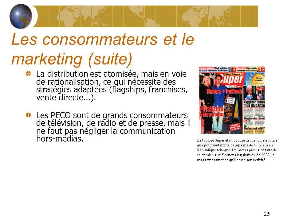 24 Les consommateurs et le marketing Le pouvoir dachat est disparate et difficile à estimer.