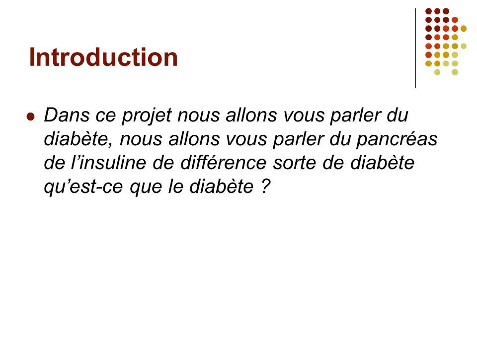 Introduction Dans ce projet nous allons vous parler du diabète, nous allons vous parler du pancréas de linsuline de différence sorte de diabète quest-