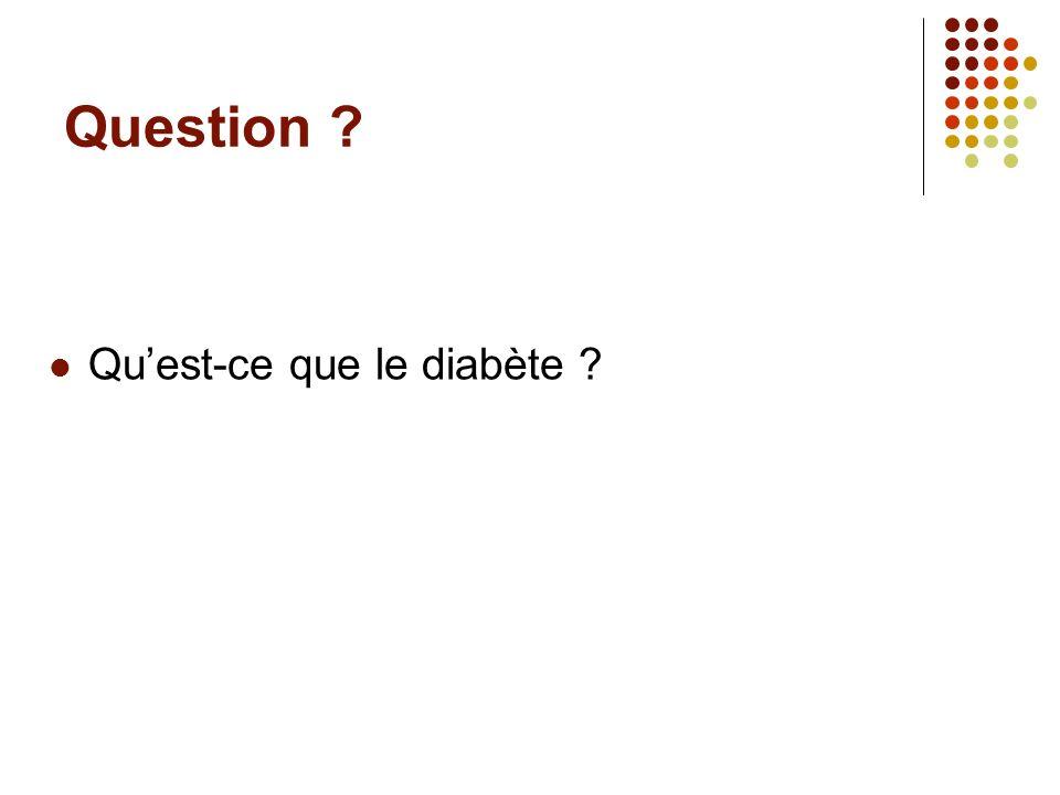 Question ? Quest-ce que le diabète ?